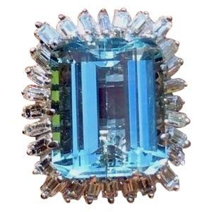 HUGE 23ct Aquamarine F/VS Diamond Cocktail Ring